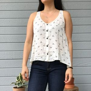 Cream and black patterned racerback tank